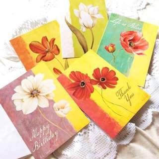 [Set Of 5] April Greetings - Set Of 5 Floral Cards.