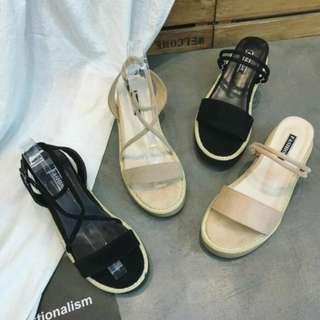 夏季百搭 多色多款交叉繫帶麂皮絨兩穿質感增高玻跟厚底涼鞋 增高鞋 玻跟鞋 厚底鞋