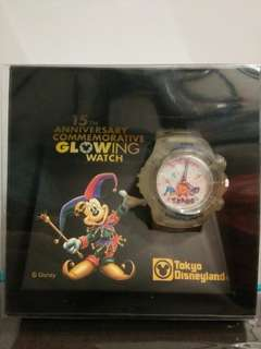 BNIB! Official Tokyo Disneyland 15th Anniversary Mickey Mouse Commemorative Glowing Watch