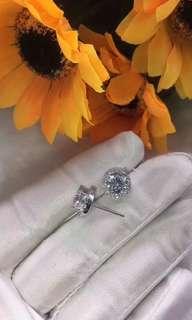 耳環可訂做莫桑鑽,1隻,50份,D色,925純銀6層包金