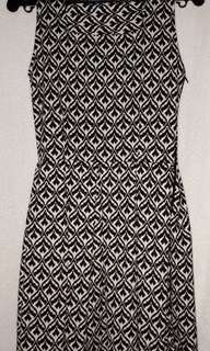 Black and white printed dress with square neckline