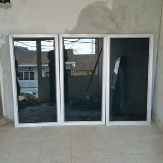 Tinted window glass with aluminum frame
