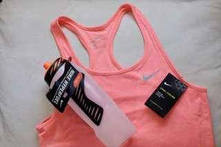 Bundle 32oz NIKE Hyperfuel Water Bottle - Clear and NIKE Women's Zonal Cooling Relay Running Tank in Sunst Glow Medium