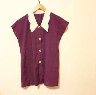 🚚 古著✨花邊大領子紫襯衫
