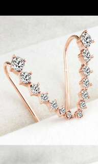 7 Star Ear Cuff Earrings For Women Jewelry Crystal Cubic Zirconia Gold color Clip