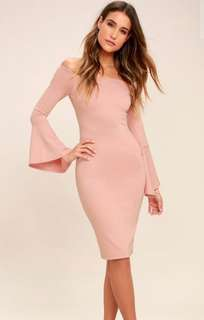 Blush Pink Off Shoulder Midi Dress