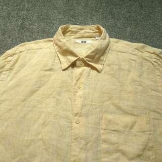 Kemeja UNIQLO Yellow Linen Shirt Long Sleeve Size L