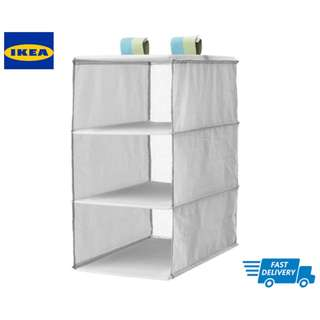 IKEA SLÄKTING Storage with 3 compartments, grey