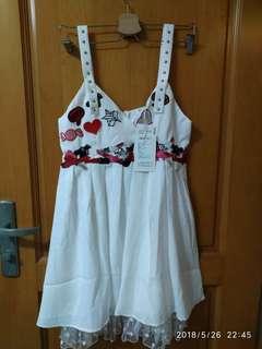 白色 可愛 少女 吊帶連身裙