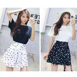 甜美套裝字母短袖t恤+點點褲裙兩件式