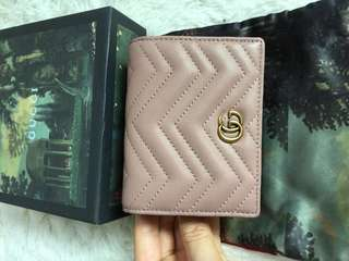 Gucci marmont small wallet card case in dusty pink