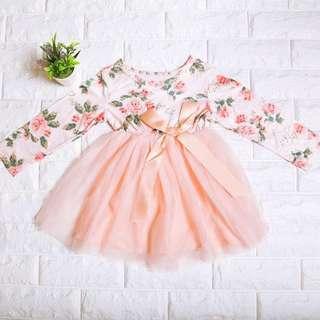 🚚 Instock - Pink Floral Tutu Dress