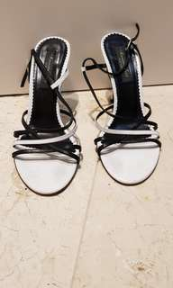 Kenneth Cole strappy black white heels