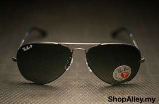 AVIATOR BLACK LENS GREEN POLARIZED 58MM