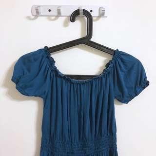 🚚 [二手]藍色鬆緊氣質洋裝