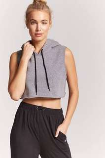 REPRICED! F21 Active hooded crop muscle tee