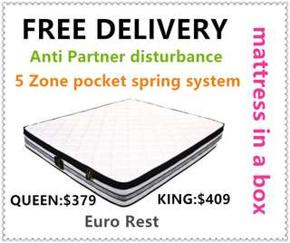 Euro Rest Brand Pillow Top queen size mattress(free delivery)