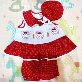 Dress baby girl white red polkadot lengkap dengan celana dan topi 3-6m