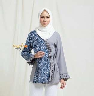 Kode Baju : Ruffle Kimono Nude dan Blue LD : 100 PJ : 73 Bahan batik cap + Mosscrepe soft