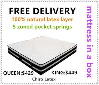 Chiro Latex Easy Breath Brand New Queen Mattress (free delivery)