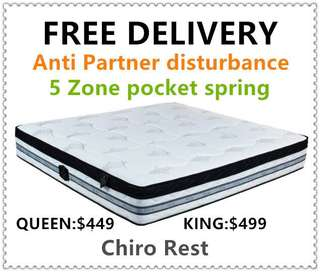 Pocket spring Brand New Pillow Top Mattress (free delivery)