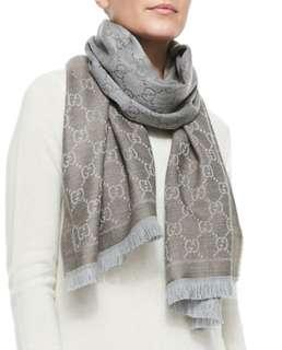Grey Brown Silver Interlocking Gg Monogram Web Oversized Wool Scarf/Wrap