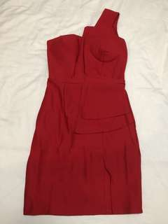 (NEW) Red 1 Shoulder Dress