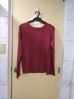 F21 burgundy knitted sweater