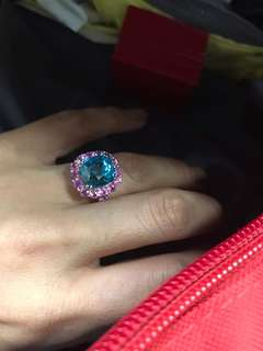 GRS Zircon ring (14.24cts)  with pink sapphire