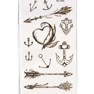 Heart and Arrows Temporary Tattoos