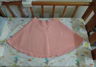 🚚 氣質粉紅色圓裙傘裙 西裝布材質 有襯裙 質感好 OL約會 #畢業兩百元出清