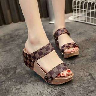Double Strap Slide Wedge Sandals