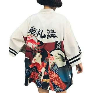 Oversized Cat Lover Harajuku Fashion Women Blouses Summer Vintage Kimono Kawaii Cardigan Thin Sun Protection Shirts Cover Up Sunscreen Blouse
