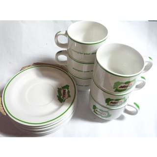"MILO Vintage Ceramic 6Pc Cup and Saucer Plate Set ""Energise your day"""