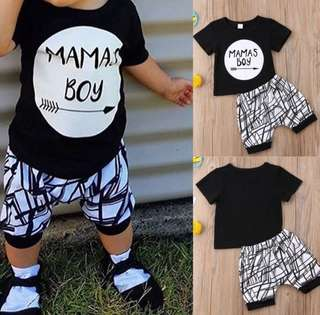 RM35 MAMAS BOY TSHIRT+PANTS SET AGE: 0-24MONTHS
