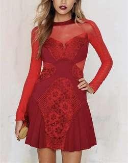 英國名牌Three Floor dress紅色魚網透視性感連身裙
