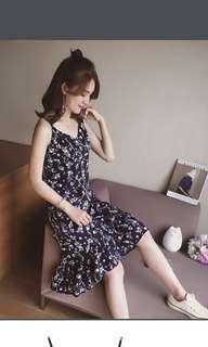 korean flowery summer dress maxi