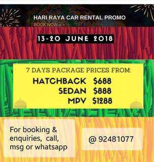 Hari Raya Car Rental 2018 Deals