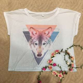 Forever 21 flowy top - pastel geometric wolf animal