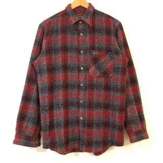 🚚 古着襯衫 Marlboro classic flannel shirt 法蘭絨 毛料 長袖襯衫 冬 灰紅 5月