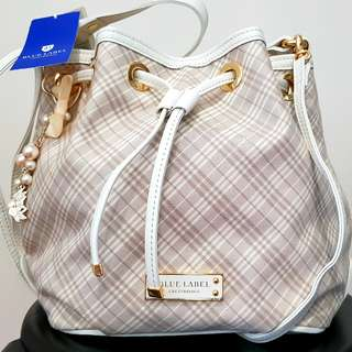 Original Japan Blue Label Classic White Checkered Bucket Tote (NEW)