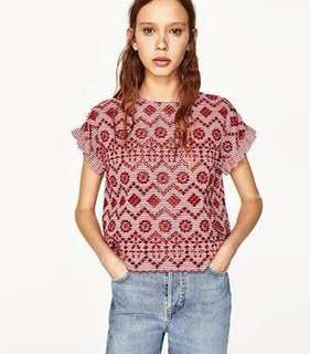 zara embroided top (in blue)