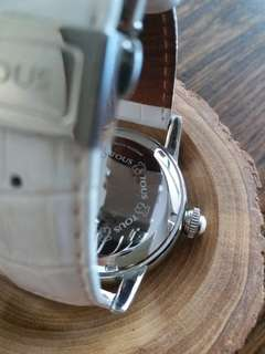 TOUS steel watch with diamonds and leather strap