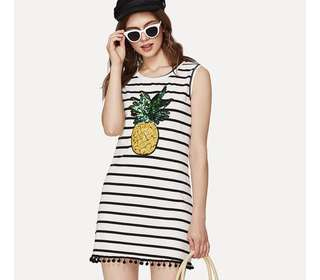 PO - Sequin Pineapple Embellished Striped Scoop Neck Sleeveless Dress