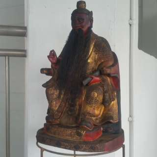 Antiques Chinese Tauism Temple Size of the Wood Sculpture Statue.