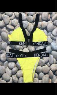 NEW TWO PIECE KYLIE INSPIRED BIKINI SWIMWEAR NEON YELLOW