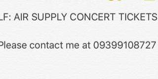 LF: Air Supply concert tickets