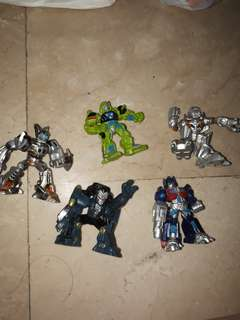 Set of 5 transformers mini