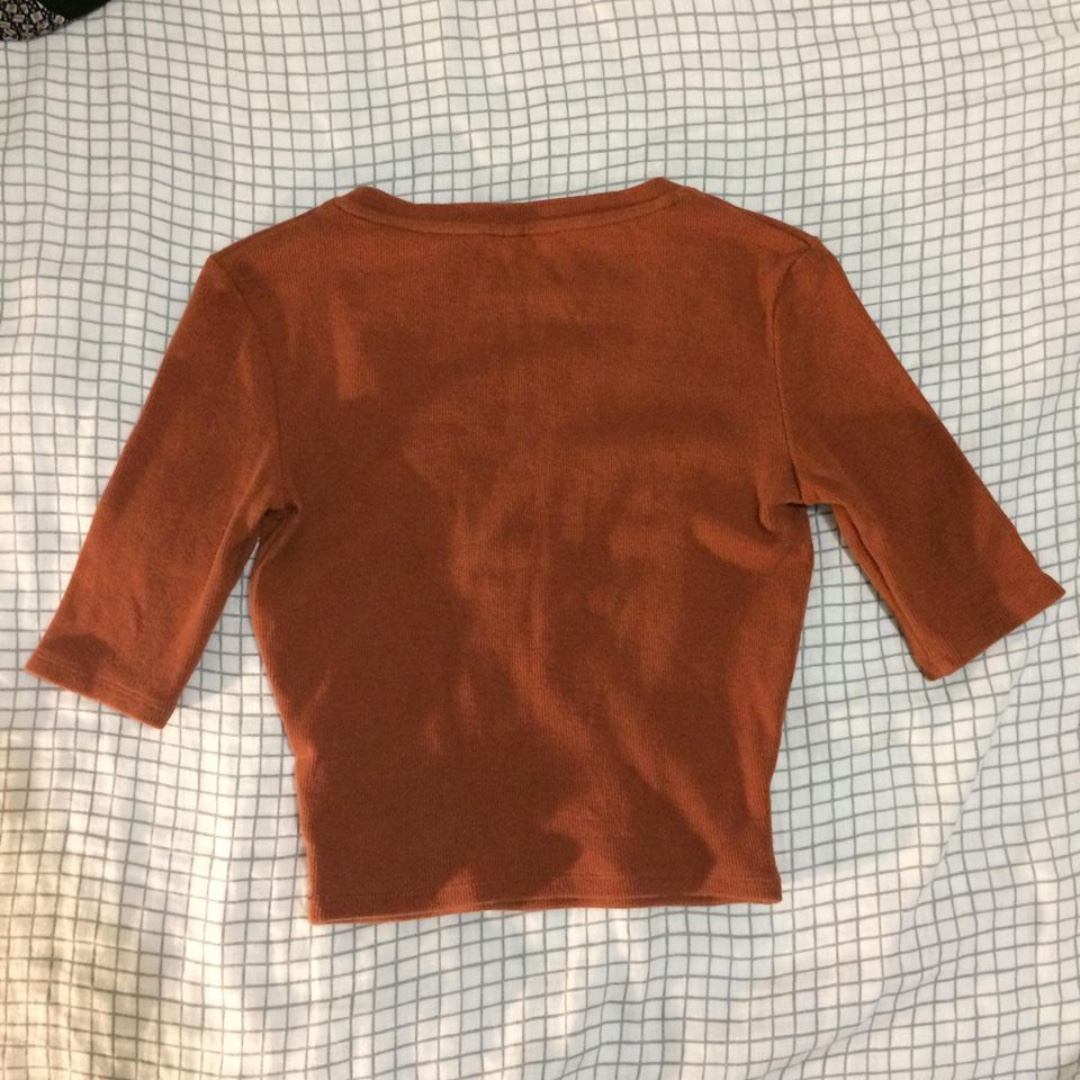 Agent 99 Rust / Burnt Orange 3/4 Sleeve Wrap Top Shirt Tee T-shirt General Pants Agent Ninetynine