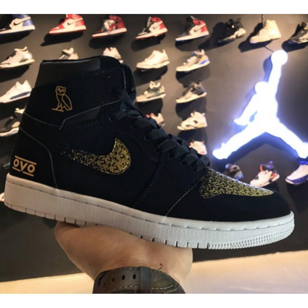 more photos 48ac0 73bbc Air Jordan 1 black gold OVO, Men's Fashion, Footwear ...
